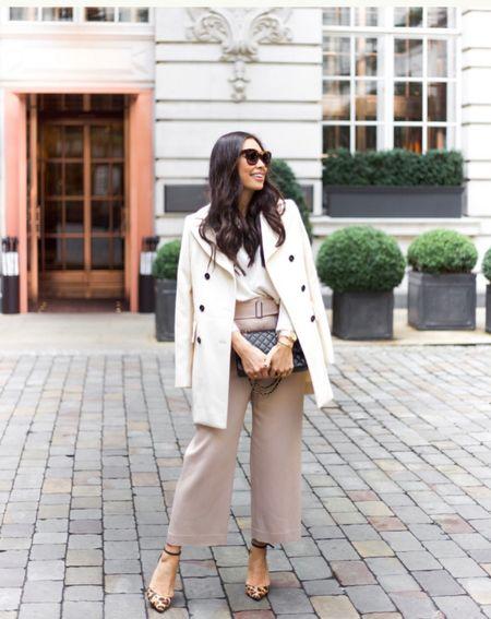 White coat with wide leg pants. #fallstyle #whitecoat  #LTKshoecrush #LTKstyletip