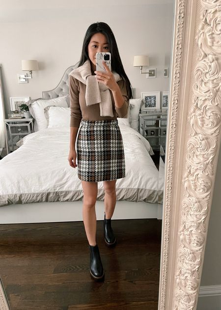 plaid skirt outfit for fall // petite style   •Caslon water resistant Chelsea boots 5 •BP crew neck sweater xxs •Vero Moda skirt xs (low stock, similar options linked!) *note that the xs felt a little loose on me so I rolled the waistband once* •Mock neck (old, similar linked)  #nordstrom  #LTKshoecrush #LTKstyletip #LTKSeasonal