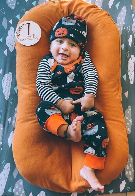 Halloween baby outfits, baby monthly milestones, snuggle me lounger, Halloween play suit, baby boy Halloween outfits, baby essentials   #LTKbaby #LTKHoliday #LTKfamily