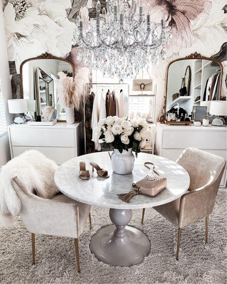 Office space, closet style, neutral decor, Anthropologie mirror, StylinAylinHome   #LTKstyletip #LTKhome #LTKunder100