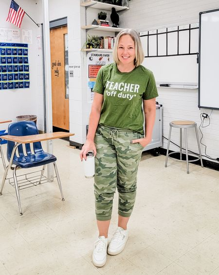 Casual everyday Teacher Off Duty weekend look featuring a graphic teacher tee, camo joggers sweatpants, and Reebok Classics Club C 85 vintage sneakers #Casual #mom #teacher #Friday #offduty #dayoff #weekend #camo #joggers #sweatpants #graphic tee #teachermom http://liketk.it/3o6v4 @liketoknow.it #liketkit