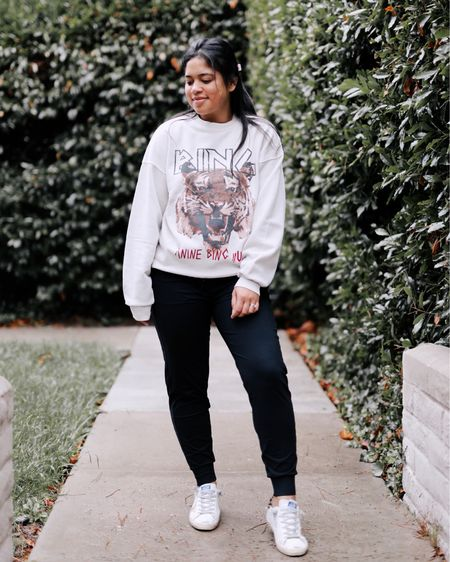 Yay for sweater weather! Obsessed with this graphic sweatshirt and these joggers! So comfy!    #LTKstyletip #LTKSeasonal #LTKunder100