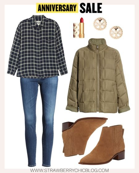 Casual fall look featuring a plaid button down and neutral low heel booties. A look for all the fall outdoor activities.   #LTKSeasonal #LTKsalealert #LTKshoecrush