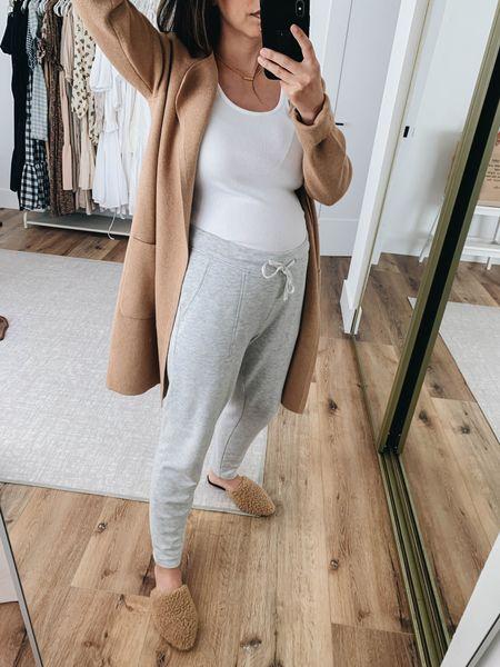 Maternity loungewear. Maternity outfits.   Cardigan - J.crew xxs on sale! Tank - Michael Stars small Sweats - Lou & Grey small on sale! Mules - Jenni Kayne 35  #LTKbump #LTKshoecrush #LTKsalealert