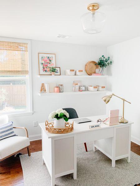 Modern coastal home office // white desk // studio McGee inspired home decor   #LTKhome