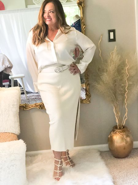 Monochromatic in Ivory!  Obsessed with this sweater skirt! Great button and slit details.  I bought it in black which sold out but came back in stock..  I was actually sweating in this picture! . . . .  #LTKshoecrush #LTKstyletip #LTKworkwear
