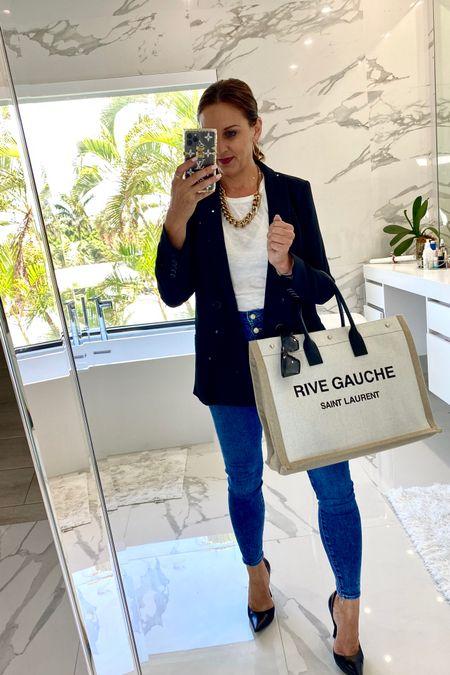http://liketk.it/3hURH #liketkit @liketoknow.it Wendy workwear style. Blazer| jeans| white racer back (link in black) designer YSL handbag/tote | black heels/pumps/stilettos    #LTKunder50 #LTKworkwear