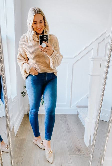 Nordstrom Anniversary Sale Favorite!   Free People Nordstrom Anniversary Sale sweater - sooo comfy and soft. Not itchy at all some acrylic to knit so it won't stretch out. Runs HUGE! I am normally a medium wearing an XS. Comes in multiple colors.   Steve Madden mule with chain - so comfortable and easy. I always size up a 1/2 size in Steve Madden.   #nsale, Nordstrom anniversary sale shoes, mules, nude shoe, cozy sweater, oversized sweater Free People, fall outfit.   #LTKunder100 #LTKshoecrush #LTKsalealert