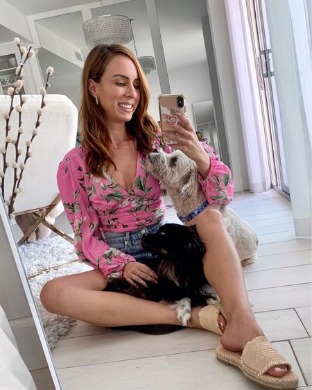 Celebrating National dog day in a tropical top a denim shorts with my pups   #LTKstyletip