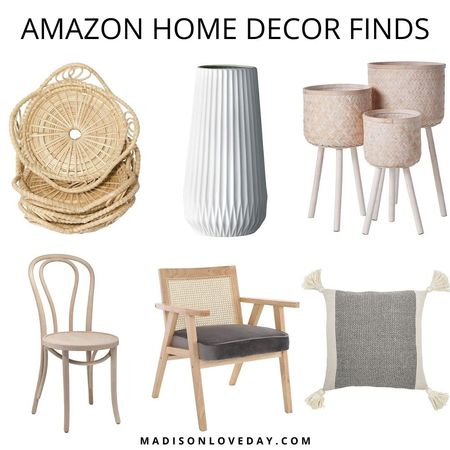 amazon home decor finds, Bloomingville Tall White Ceramic Fluted Vase, Bloomingville Set of 3 Round Bamboo Floor Baskets with Wood Legs, 1018 Hairpin Bentwood Chairs, Modern Dining Room, Mid-Century Chair, Upholstered Accent Armchair with Wood Frame and Canvas Cushions, Bloomingville A40110195U1 Grey & Cream Corner Grey Square Cotton Blend Pillow with Tassels, SoBoho Natural Handmade Woven Boho Bamboo Rattan Coasters for Drinks   #LTKSeasonal #LTKhome #LTKsalealert