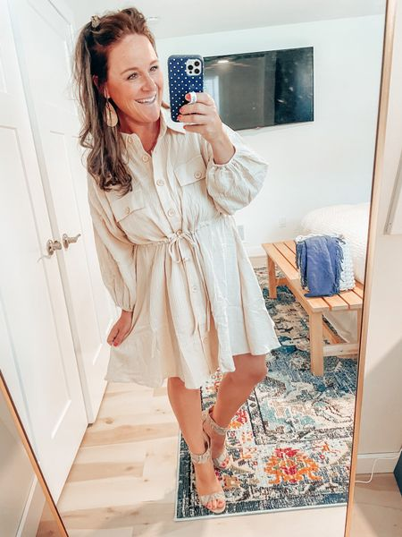 Pink lily has some super cute, teacher-friendly dresses right now! This one is unbelievably comfy and flowy! Love the collar and the puffed lantern sleeves for a more polished look. Pair with your favorite booties or strap oh sandals if it's warm enough! #teacherstyle #teacherfriendly #summertofall   #LTKunder50 #LTKworkwear #LTKstyletip