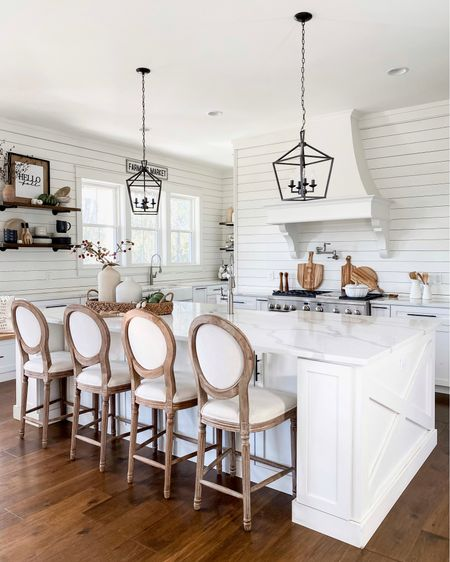 White modern farmhouse kitchen open shelving affordable home accessories and decor bar and counter stools black or cronies kitchen pendant lighting pot filler fall and seasonal decor dinnerware vases and vessels fall stems   #LTKstyletip #LTKhome #LTKSeasonal