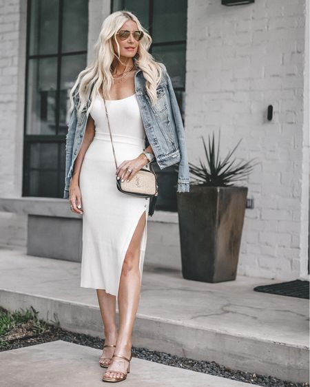 Happy Wednesday friends! 🤍 Wear this slimming midi skirt and matching ribbed cami on your next night out with heels and a denim jacket or a white blazer (swipe right to it styled that way). How would you style it? #revolve #revolvepartner ✨✨✨ As always, these exact outfit details are linked in my bio. Both pieces run tts, I'm wearing an XS in both. Have a fabulous day!!   @liketoknow.it #liketkit http://liketk.it/3ha5N #LTKstyletip #LTKshoecrush #LTKunder100
