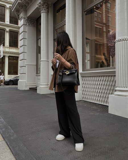 The Frankie Shop blouse, wide leg pants, and K32