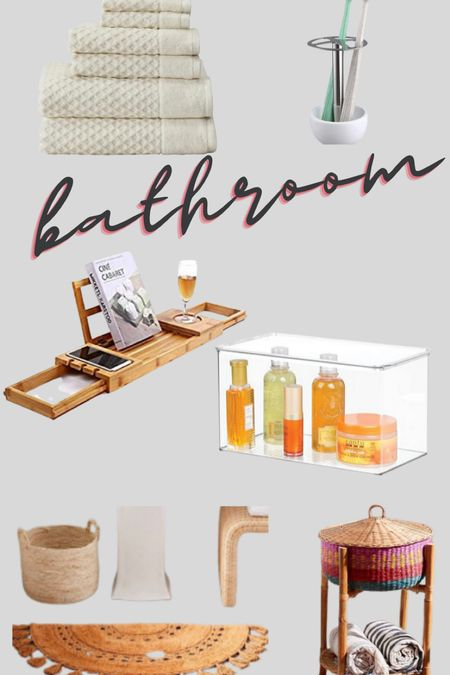 Boho bathroom with neutral warm tones. The bath tray is stocked with all my  essentials   #LTKfamily #LTKhome #LTKunder50