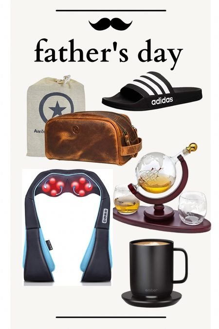 Father's Day gift guide with whiskey decanter, best messager, warming coffee mug, leather toiletry bag and adidas shoes all from Amazon.   #LTKSeasonal #LTKfamily #LTKmens