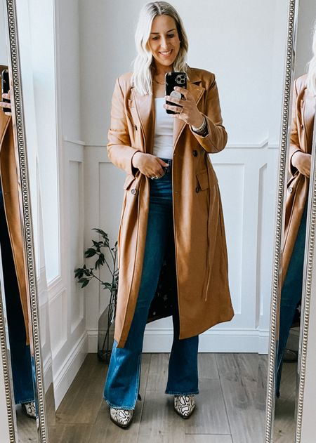 Nordstrom Anniversary Sale camel faux  leather jacket - runs true to size. Great quality for the price.   Neutral wardrobe, capsule wardrobe, booties, fall outfit #nsale  #LTKstyletip #LTKworkwear #LTKsalealert