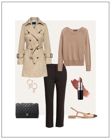 classy yet trendy, crewneck sweater, black ankle pants, trench coat, cap toe flats, Chanel classic flap bag, gold pearl hoop earrings  #LTKstyletip#LTKshoecrush#liketkit @liketoknow.it