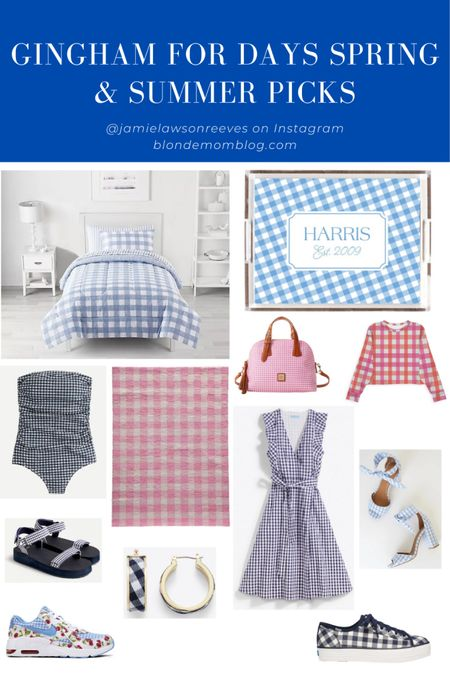 Gingham for days! Gingham is on trend right now and so perfect for spring and summer.  #gingham #keds #katespade #draperjames #reesewitherspoon #etsy #target #targetfinds #dooneyandburke #jcrew #kohls #nike #lulus #fashionafter40 #fashionafter50