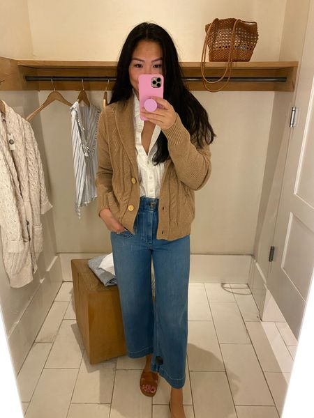 Anthropologie try-on: this camel cardigan won me over with the shawl collar.   #LTKstyletip