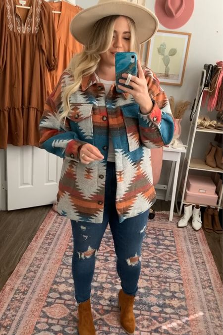 OBSESSED with this Aztec print shacket for fall 😍   #LTKSeasonal #LTKunder100