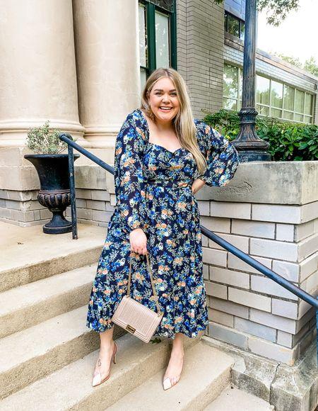 Fall wedding guest dress plus size. Wearing 2x but should have done the 1x. Clear heels are so chic and my earrings are Taylor Shaye Designs   #LTKstyletip #LTKunder100 #LTKwedding
