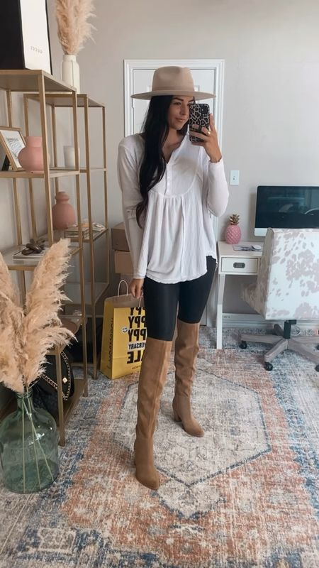 S in top and bottom, 8 in boots  Nsale, Nordstrom sale, fedora hat, spanx leggings, leather leggings, free people henley, over the knee boots   #LTKstyletip #LTKshoecrush #LTKunder50