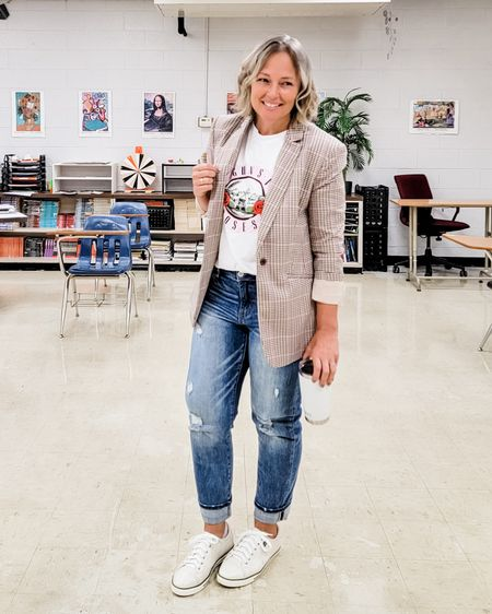 Casual everyday fall teacher mom outfit featuring a plaid boyfriend blazer, Guns n Roses rock band tee, loose straight jeans, and white sneakers #teacher #mom #whitesneakers #plaidblazer #blazer #Petite #loosejeans #straightjeans #fall #Casual #Petite #midsize # falloutfit http://liketk.it/3mZUI @liketoknow.it #liketkit