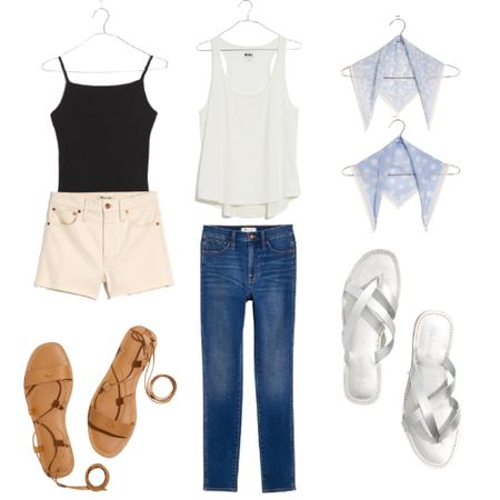 Grab these great capsule wardrobe pieces. Save up to 30% with code: SUNFUN  Denim : White Denim : White Jeans : Jeans : Madewell : Bandana : Bodysuit : Sandals : Summer Outfit : Beach Outfit : Women's Top   #LTKsalealert #LTKstyletip #LTKunder50 #liketkit @liketoknow.it http://liketk.it/3hfez