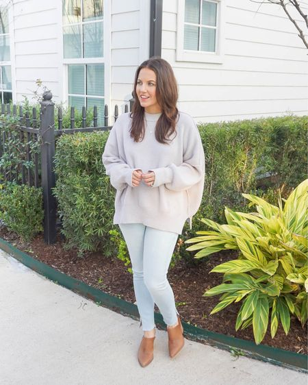 Fall outfits / winter outfit / light gray sweater (darker shade available) / light blue jeans / brown mules / silver layered necklaces   #LTKunder50 #LTKunder100 #LTKshoecrush