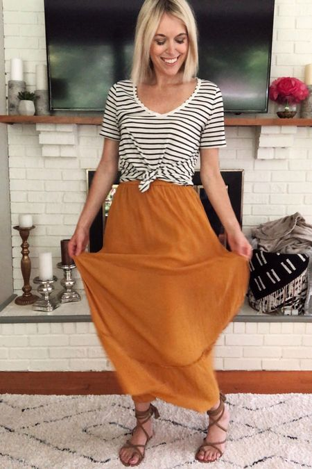 Summer capsule wardrobe (look 2/9): striped t-shirt, yellow maxi skirt, lace-up sandals 😎 Check out the other 8 looks in this series to see more casual summer outfit ideas! http://liketk.it/2CuLv @liketoknow.it #liketkit #LTKunder100 #LTKstyletip #LTKsummer , stripes
