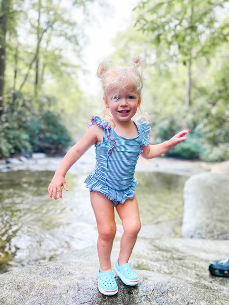 Rollin' on the river 💦 I wanted to let y'all in on a pet peeve of mine: when people say you can't travel with kids. 😬 Or tell you to put off having kids so you can travel first, or to take a big babymoon trip because you won't be taking any more until your kids get older. 🙃  News flash: it IS possible (and fun!) to travel with littles. Of course it will require more stops, snacks and wiggle room for naps and tiny legs that don't walk as quickly. 😜  We've been traveling with Dolly since she was 6 weeks old. Have we had rough trips? Absolutely. But I haven't regretted a single one. We've learned a lot along the way & I wouldn't change a thing.  These are the memories I'll remember forever, and I hope she does too. 💚  Have you traveled anywhere with your kiddos? Tell me in the comments!    #LTKkids #LTKswim #LTKtravel