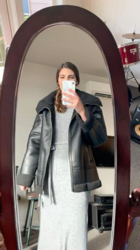 """Mini try-on haul - check out today's stories for more info. I'm linking the pieces I liked from the order.  Sizing:  Sherpa aviator jacket - sized up one size for a looser fit. Wearing a tall US 6.  Leather trousers - are a few inches too short on me (I typically order a 38"""" inseam). But if your inseam is a bit shorter, I loved the cut and fit. Wearing TTS - tall US 4/UK 8.   Booties - TTS (I need a 9.5, but they only come in full sizes)  #LTKunder50 #LTKunder100 #LTKSeasonal"""