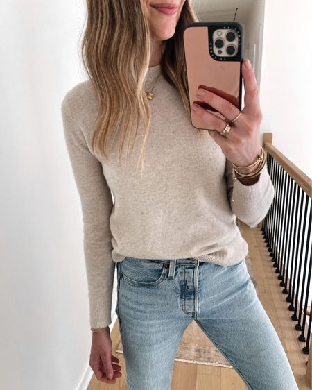 Love this beige sweater for fall! It's a cashmere blend and perfect for wearing solo or layered under a jacket! Fits TTS (wearing an xs) #sweaters #falloitfits   #LTKunder100 #LTKsalealert #LTKstyletip