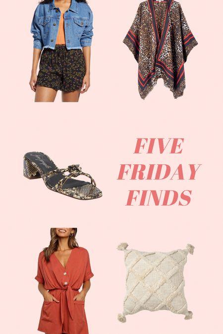 Friday finds // sale items // kimono // denim jacket // block heel // romper // throw pillow // affordable finds   #LTKunder50 #LTKhome #LTKsalealert