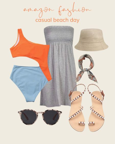 Cute and colorful outfit idea for your next beach day! Amazon fashion casual one piece swimsuit for the summer!   #LTKstyletip #LTKswim #LTKunder50