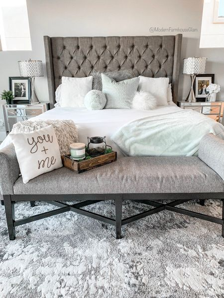 Master bedroom furniture, tufted headboard, tufted platform bed, king sized bed, bamboo sheets, bedding, comforter, duvet cover, area rug, bedroom rug, white and gray rug, bedroom bench, modern farmhouse glam. http://liketk.it/3hZjF #liketkit @liketoknow.it #LTKhome #LTKsalealert @liketoknow.it.home You can instantly shop my looks by following me on the LIKEtoKNOW.it shopping app