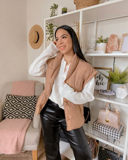 Get 15% off SHEIN with code Q3YGJESS  puffer vest, collared sweater, leather pants, fall outfit, fall style   #LTKsalealert #LTKstyletip #LTKunder50