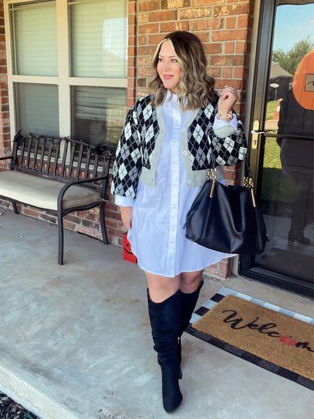 Cardi size large  Shirt dress size large  Boots wide calf    #LTKunder50 #LTKcurves #LTKstyletip