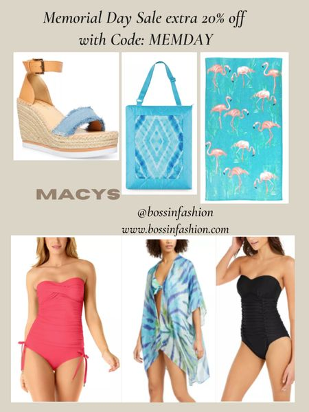 Use code MEMDAY for 20% off on select items! Love Macy's swim always. There's so many options and they have some of the best one pieces. Also there are great beach bags, beach towels and wedges on sale this weekend! Shop till you shop! You can instantly shop my looks by following me on the LIKEtoKNOW.it shopping app #LTKswim #swim #onepiece #swimsuit #macys #macyssale #macysswim http://liketk.it/3guaj #liketkit @liketoknow.it