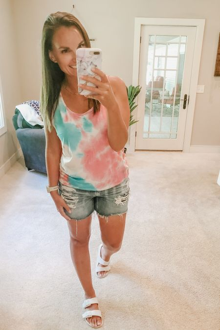 Loving this bright tie dye tank, another amazon find! Also these white sandals are back in stock and under $15!!   http://liketk.it/2Tp2B #liketkit @liketoknow.it