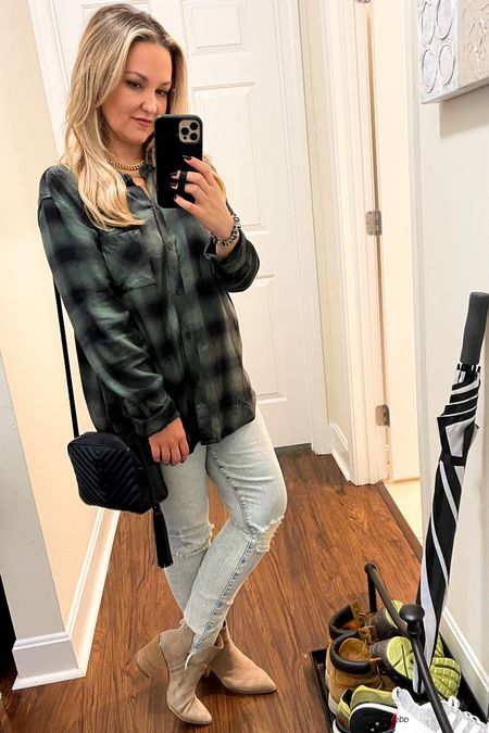 All the fall vibes with these tan booties, mother denim, rails plaid shirt (size up!) and YSL bag   #LTKstyletip #LTKitbag #LTKSeasonal