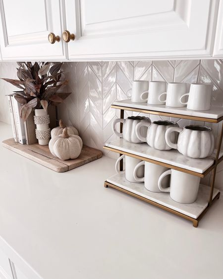 Coffee bar, coffee mugs, fall decor, fall style, StylinAylinHome   #LTKSeasonal #LTKhome #LTKunder100