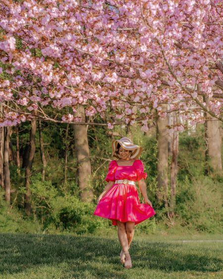 Hot pink tiered poplin dress.  Paired with platfoem sandals, cream woven belt, and floppy hat.  Great summer look.  Walmart find, Target find http://liketk.it/3fp2k @liketoknow.it #liketkit #LTKSpringSale #LTKstyletip #LTKunder50 #LTKunder100 #LTKitbag #LTKshoecrush #LTKtravel Download the LIKEtoKNOW.it app to shop this pic via screenshot