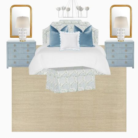 A beautiful blue & green primary bedroom with some splurge pieces! Blue grasscloth dressers, linden lamps, gold Philippe mirrors and a jute rug.     #LTKhome