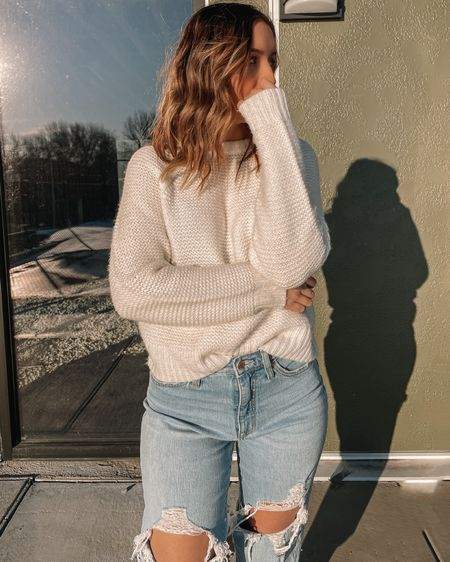 White pullover sweater is a size small and blue ripped vintage straight mom jeans are a size 2. http://liketk.it/398gJ #liketkit @liketoknow.it #LTKunder100 #LTKunder50 #LTKstyletip