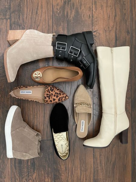 Fall outfits, fall shoes, boots, booties, mules, flats, Steve Madden, Ann Taylor, Birdies, Blondo, combat boots, Marc Fisher, Tory Burch  #LTKGiftGuide #LTKunder100 #LTKshoecrush