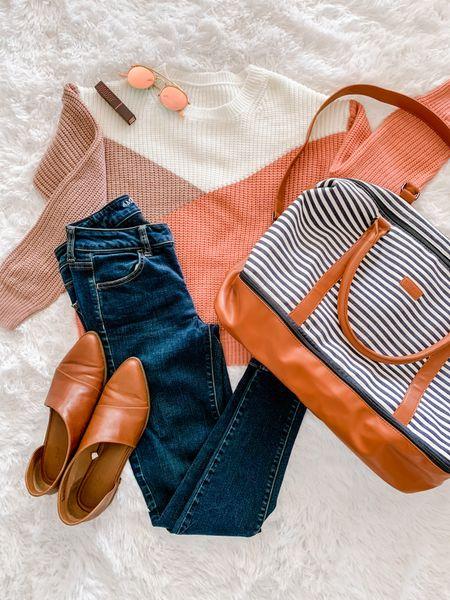 Natural lipstick, rose gold sunglasses, color block sweater, striped weekender duffle, leather shoes, jeans  #LTKSeasonal #LTKunder50 #LTKbeauty