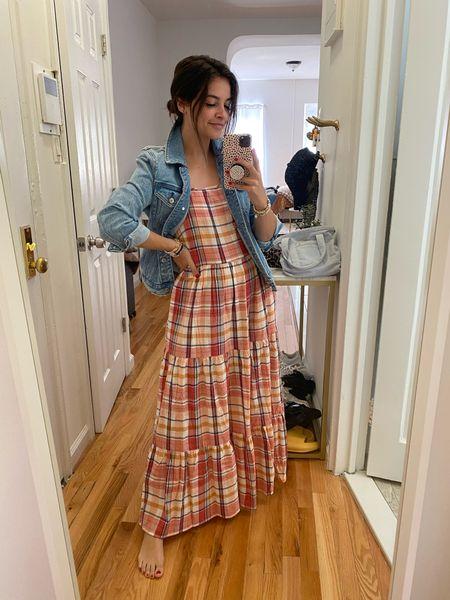Maxi dress Transitional dress Teacher style  Plaid Denim jacket  #LTKunder100 #LTKbacktoschool #LTKsalealert