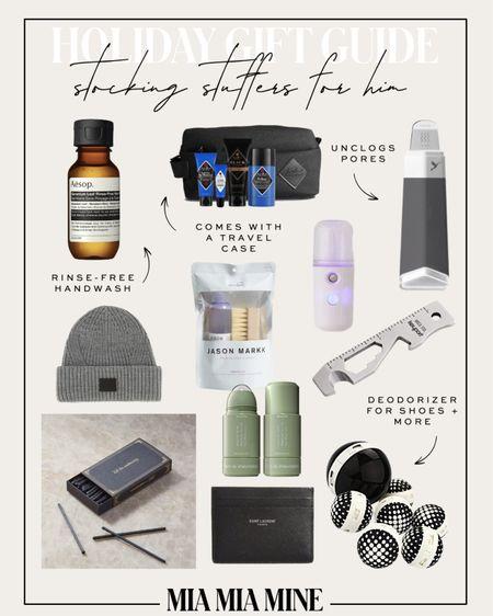 Sharing the best holiday gifts for men - stocking stuffers including AllSaints beanie, shoe cleaning kit, Saint Laurent card case, skincare for men and more   #LTKGiftGuide #LTKunder50 #LTKunder100